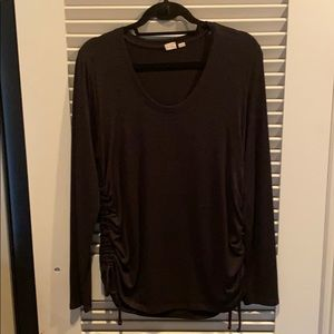 Black sweater with cinched sides